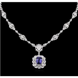 5.88ct Tanzanite and Diamond Necklace - 18KT White Gold
