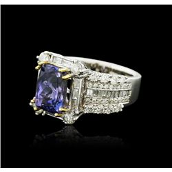 14KT Two-Tone Gold 3.12ct Tanzanite and Diamond Ring