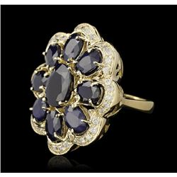 14KT Yellow Gold 10.02ctw Sapphire and Diamond Ring