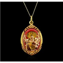22KT Yellow Gold Chinese Theme Pendant With Chain