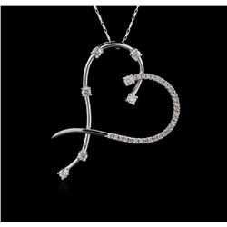 14KT White Gold 0.83ctw Diamond Pendant With Chain