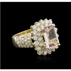 14KT Yellow Gold 3.06ct Morganite and Diamond Ring