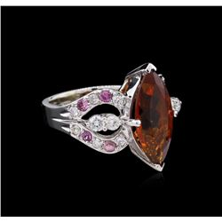 6.05ct Malaya Garnet, Pink Sapphire and Diamond Ring - 14KT White Gold