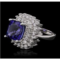 14KT White Gold GIA Certified 8.39ct Tanzanite and Diamond Ring