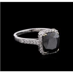 3.76ctw Fancy Black Diamond Ring - 14KT White Gold