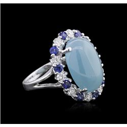 14KT White Gold 10.73ct Aquamarine, Sapphire and Diamond Ring