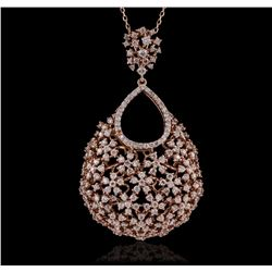 14KT Rose Gold 2.36ctw Diamond Pendant With Chain