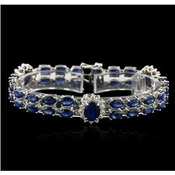 14KT White Gold 27.50ctw Sapphire and Diamond Bracelet
