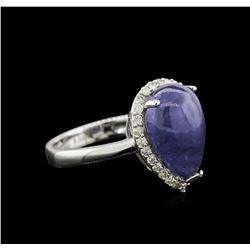 6.32ct Tanzanite and Diamond Ring - 14KT White Gold