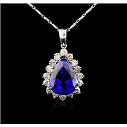 14KT White Gold GIA Certified 16.01ct Tanzanite and Diamond Pendant With Chain