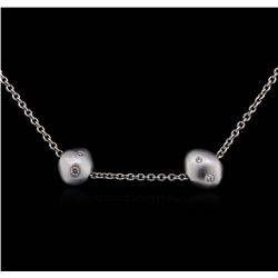 Pearl and Diamond Necklace - 18KT White Gold