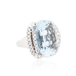 14KT White Gold 22.00ct Aquamarine and Diamond Ring
