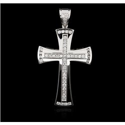 14KT White Gold 0.98ctw Diamond Cross Pendant