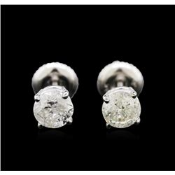 1.29ctw Diamond Stud Earrings - 14KT White Gold