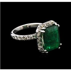 4.80ct Emerald and Diamond Ring - 14KT White Gold