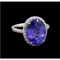 GIA Cert 8.68ct Tanzanite and Diamond Ring - 14KT White Gold