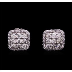 1.09ctw Diamond Earrings - 14KT White Gold