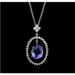 14KT White Gold 3.89ct Tanzanite and Diamond Pendant With Chain