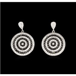 1.11ctw Black Diamond Earrings - 14KT White Gold