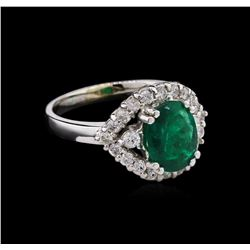 1.60ct Emerald and Diamond Ring - 18KT White Gold