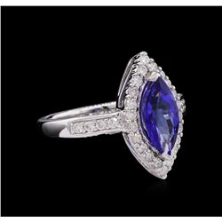 14KT White Gold 2.13ct Tanzanite and Diamond Ring