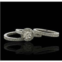 14KT White Gold 1.87ctw Diamond Ring Wedding Set