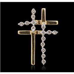 14KT Yellow Gold 0.25ctw Diamond Cross Pendant
