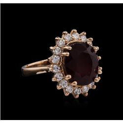 14KT Rose Gold 7.94ct Ruby and Diamond Ring
