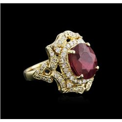 6.44ct Ruby and Diamond Ring - 14KT Yellow Gold