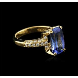 18KT Yellow Gold 3.89ct Tanzanite and Diamond Ring