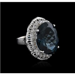 14KT White Gold 20.83ct Topaz and Diamond Ring