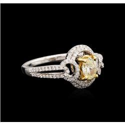 18KT Two-Tone Gold 0.99ctw Fancy Light Yellow Diamond Ring