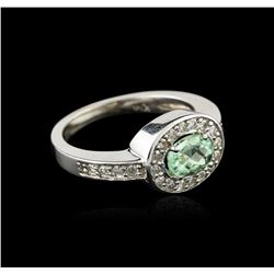 14KT White Gold 0.84ct Green Tourmaline and Diamond Ring