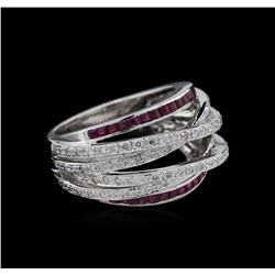 0.90ctw Ruby and Diamond Ring - 18KT White Gold