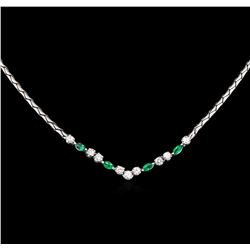 0.52ctw Emerald and Diamond Necklace - 18KT White Gold