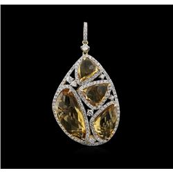 13.38ct Citrine and Diamond Pendant - 14KT Yellow Gold