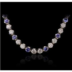 14KT White Gold 25.92ctw Tanzanite and Diamond Necklace