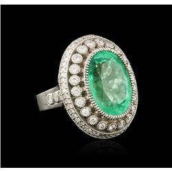 18KT White Gold 13.35ct Emerald and Diamond Ring