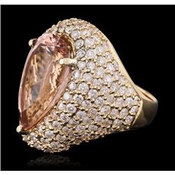 14KT Yellow Gold 10.83ct Morganite and Diamond Ring