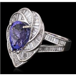 18KT White Gold 5.36ct Tanzanite and Diamond Ring