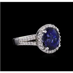 14KT White Gold 6.64ct Sapphire and Diamond Ring