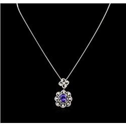 14KT White Gold 3.64ctw Tanzanite and Diamond Pendant With Chain