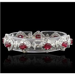 20.25ctw Ruby and Diamond Bracelet - 14KT White Gold