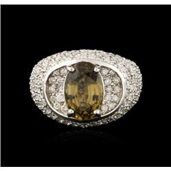18KT White Gold 3.18ct Green Chrysoberyl and Diamond Ring