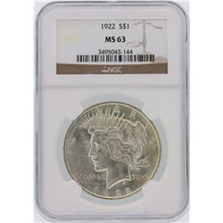1922 NGC MS63 Peace Silver Dollar
