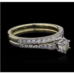 1.19ctw Diamond Wedding Ring Set - 14KT Two-Tone Gold