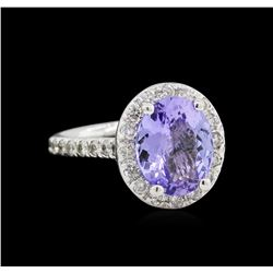 2.94ct Tanzanite and Diamond Ring - 14KT White Gold