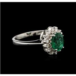 1.00ct Emerald and Diamond Ring - 18KT White Gold