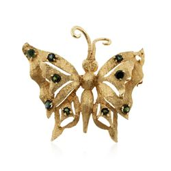 14KT Yellow Gold 1.00ctw Green Tourmaline and Peridot Butterfly Brooch