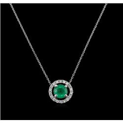 1.00ct Emerald and Diamond Pendant With Chain - 14KT White Gold